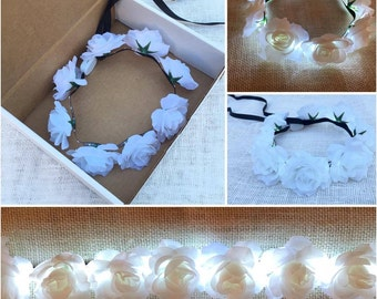 LED Flashing Light up White Rose Flower Crown for Weddings, Festivals and Parties