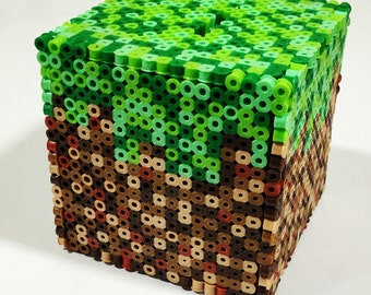 Minecraft Grass Block 3D perler box or coin bank!