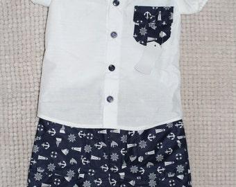 Boys Dress Shirt & Shorts Set (Size 00)