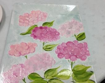 Pink hydrangea platter