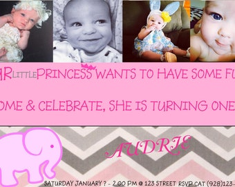 Pink Elephant First Birthday Invitations with Envelopes