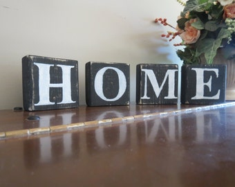 Wooden Word Blocks, Wood Blocks, Rustic Home Decor, Home Wood Signs, Shower gift, Wedding gift, House warming gift