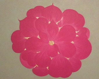 Original, Hand-Painted,  Wall Decor, Wall Art - ABSTRACT FUCHSIA  ROSE
