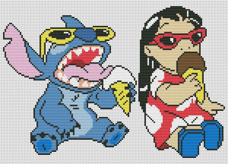 Stitch smiling from Lilo &amp- Stitch free cross stitch pattern ...