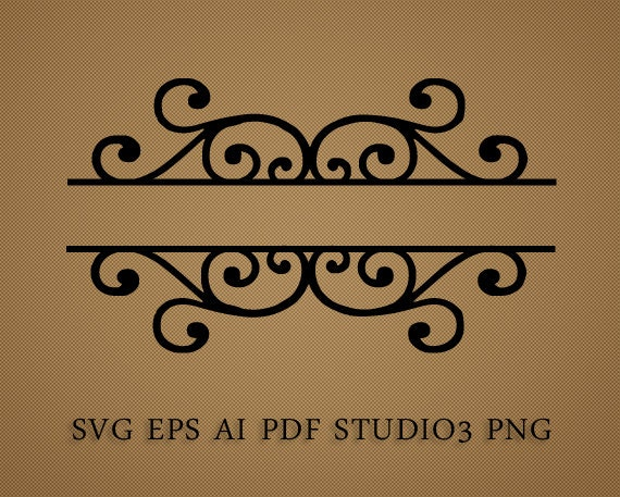 split frame svg scroll type label for title family name