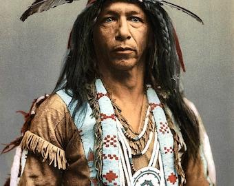 Native American Indian Brave Portrait Arrowmaker Photo Art Print Picture A4