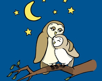 Owl Mama and Baby - 8 x 10 Matted Nursery or Children's Art Print