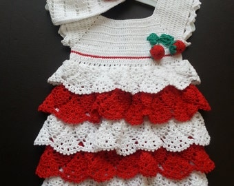 Crochet 100% cotton baby dress with hat