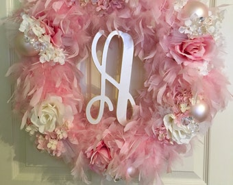 Feathers and flowers baby girl wreath