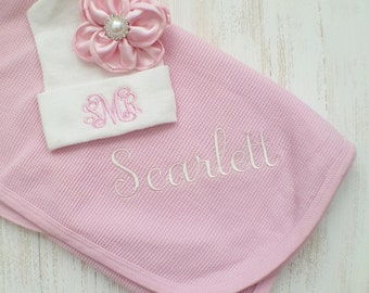 Personalized baby girl blanket and hospital hat- baby girl receiving blanket, newborn hospital hat, baby gift, swaddle blanket, 30x36 in.