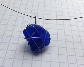 Unique blue glass pendant