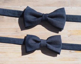 Humphrey pretied bowtie for boys and men in dark blue denim