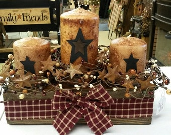 Primitive Candle Box Centerpiece