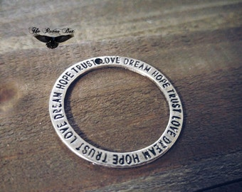 Quote Charm Pendant Antiqued Silver Open Circle Word Charm Affirmation Ring Pendant Hope Trust Love Dream Inspirational Charm