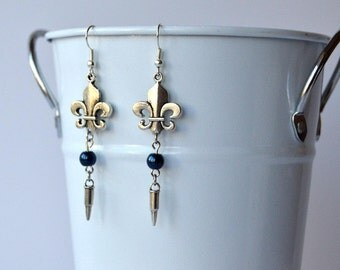Allison Argent Silver & Blue Teen Wolf Earrings with Fleur de Lis and Silver Bullet