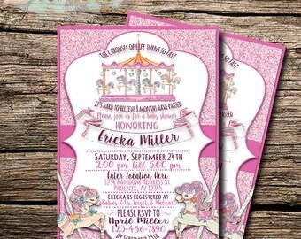 Carousel Invitation | Circus Invitation | Carnival Invite | Carousel Invite | Baby Shower Invite