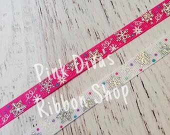 3/8 Silver Snowflake Ribbon - US Designer Ribbon - Snowflake Ribbon