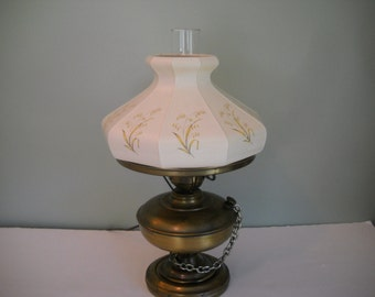 Electric Hurricane Lamp with Glass Shade with Yellow/Gold Flowers