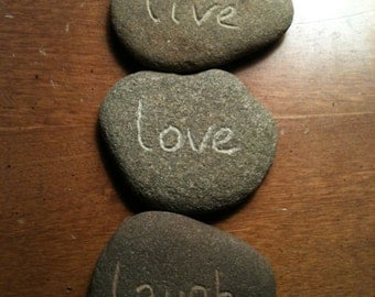 Hand Engraved River Stones