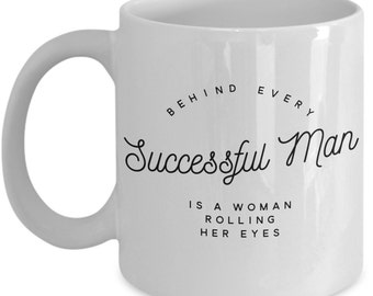 Vitazi Kitchenware Ceramic Coffee Mug with Quote, 11 oz, Dishwasher and Microwave Safe - Behind Every Successful Man