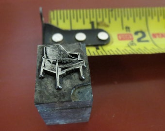 Vintage Zinc/Lead printing block - Chair