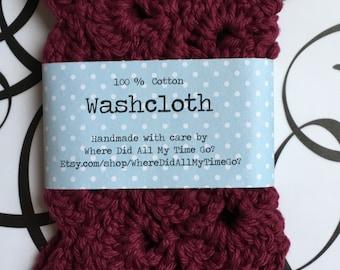 100% cotton crocheted washcloth