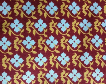 Vintage Blue Flowers and Gold Leaves on Rust Colored Cotton Fabric