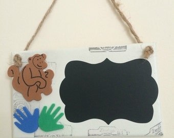 Personalised/Chalk Board/kids/childrens/wall/door/plaque/sign. Safari theme.