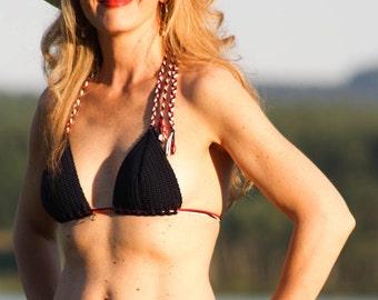 Marine Classic Collection. Crochet Bikini BH - navy