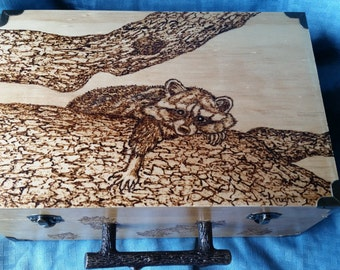 Memory Box with Wood burning Art a Raccoon