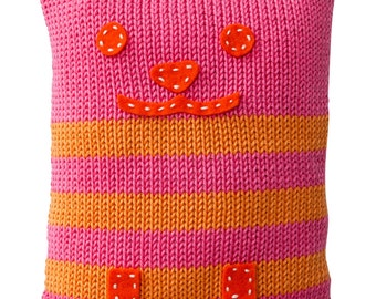 Hand Made Knitted Kitty Toy - Pink
