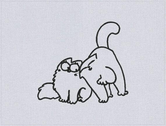 Simon's Cat Love - Machine embroidery design or Custom digitizing from you image Simon's Cat