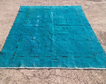 Vintage overdyed blue rug,cotton and wool rug,tribal overdyed rug  6,11x10,1 feet