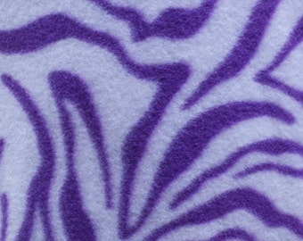 White and Purple Zebra Animal Print Fleece Fabric by the yard