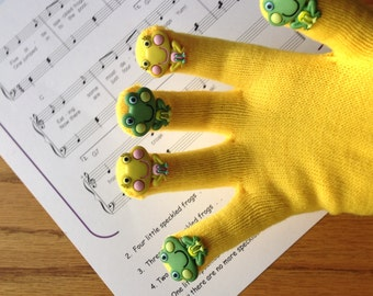 Five Little Speckled Frogs, Hand Puppet, Song, Activity, Toy, Kids, Preschool Fun, Green and Yellow, Gift