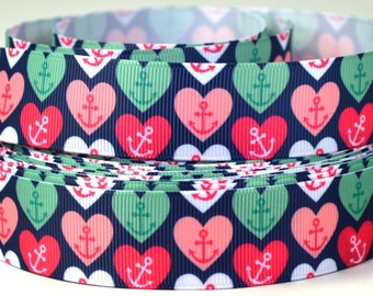 "Anchors and Hearts - Nautical Ribbon - 1"" Grosgrain Ribbon"