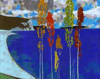 LANDSCAPE OIL PAINTING 30X30 canvas oil painting, large oil landscape painting, fall landscape painting, palette knife painting, impasto