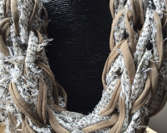 Designer cream and camel chain scarf
