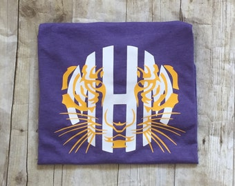 Purple and Yellow Monogrammed Tiger Face Tee