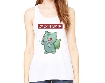 Cute Bulbasaur Japanese Text Womens Super Soft White Tank Top Pokemon Go Tee