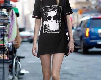 2016 Fashion Printed Black T-Shirt Dress