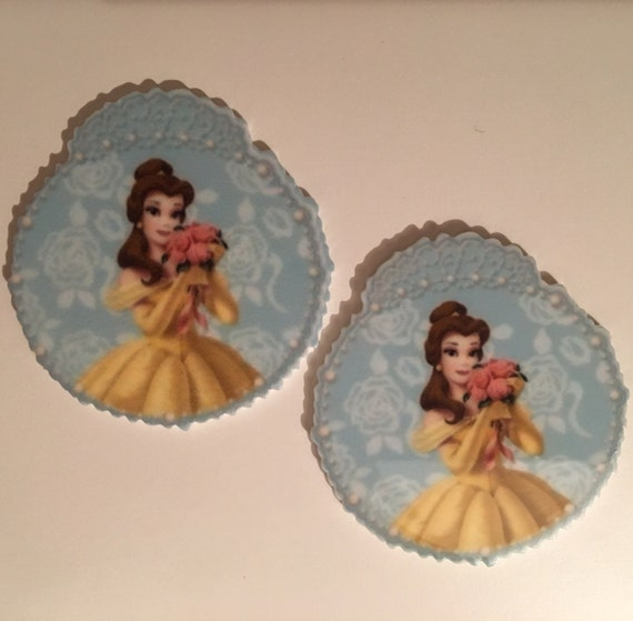 Reduced 2 Princess Belle Beauty and the beast Planar Resin. Flatback cabochon bow centre embellishments laser cut shrinky dink topper brooch