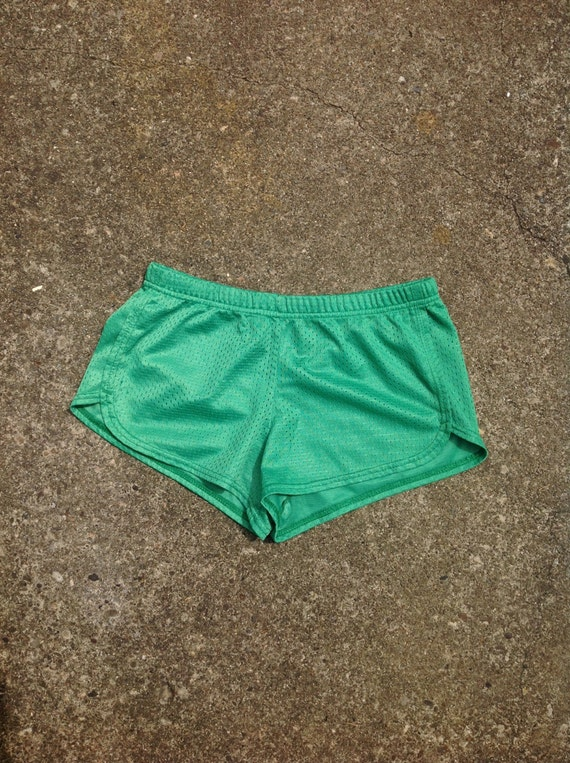 Vintage 70s style mesh athletic shorts, SOFFE brand, sporty spice, green, size Small