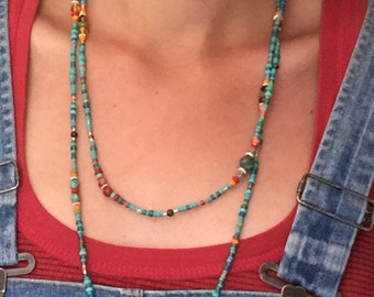 2-3 loop long SW-style beaded necklace