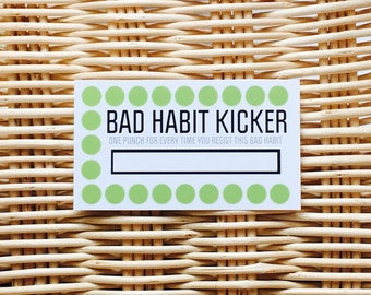 Bad Habit Kicker. Funny Business Cards. Punch Cards. Habit Tracker, Progress. Note Cards. New Year's Resolution. Tracker, DIY
