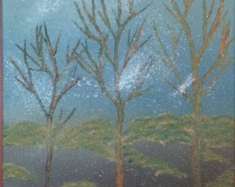 """The First Snow of Fall, Oil painting on Canvas, 1ftx1ft/12""""x12"""" Square"""
