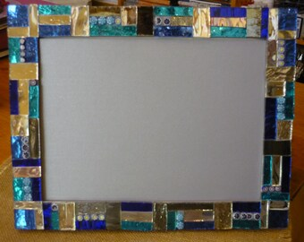 Photo frame with mirrored glass mosaic and murrine