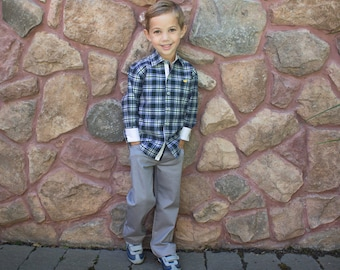 Toddler Boy's Classic Cotton Gray Dress Pants Five-Pocket with Adjustable Waist YKK zipper