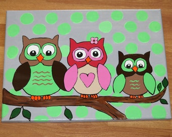 Owl nursery decor - owl room decor -  personalized family of owls perfect for your little ones room