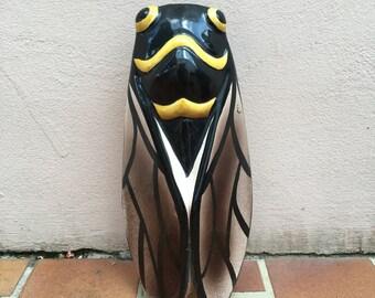 YELLOW vintage French MAJOLICA CICADA wall pocket vase